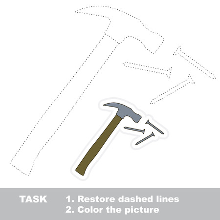restore: Hammer and nails in vector to be traced. Restore dashed line and color the picture.