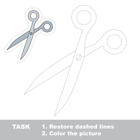 restore: Scissors in vector to be traced. Restore dashed line and color the picture.