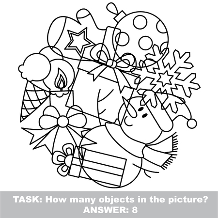 mishmash: New Year mishmash set in vector outlined to be colored.  Find all hidden objects on the picture.