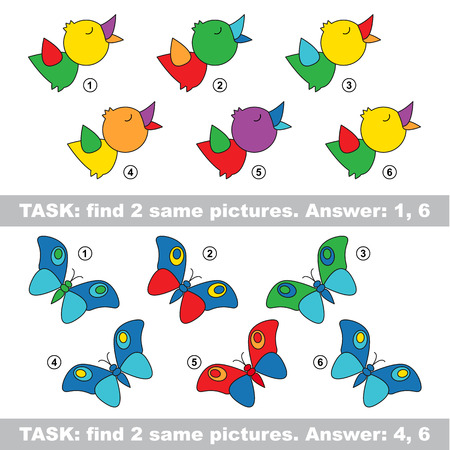 similar: Design equal, color different. Visual vector game. Task and answer. Find two similar Bird and butterfly