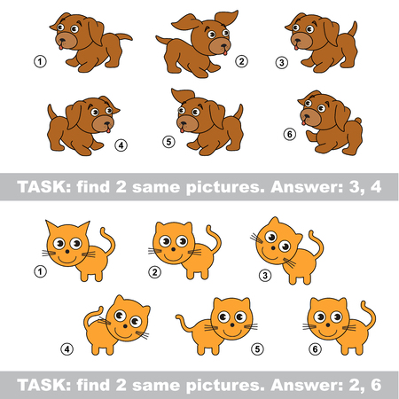 similar: Design different, color equal.  Vector visual game. Task and answer. Find two similar dog and cat