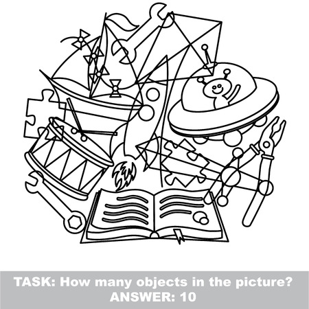 mishmash: Boy toy mishmash set in vector outlined to be colored.  Find all hidden objects on the picture.