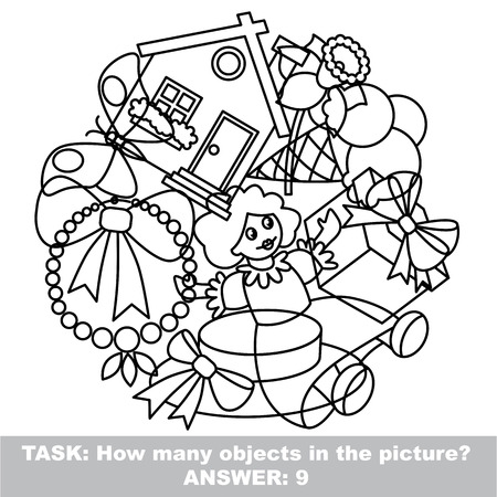 mishmash: Girl toy mishmash set in vector outlined to be colored.  Find all hidden objects on the picture. Illustration