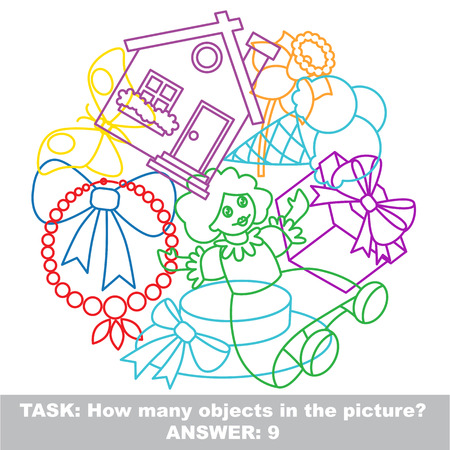 mishmash: Girl toy mishmash colorful set in vector. Find all hidden objects on the picture.