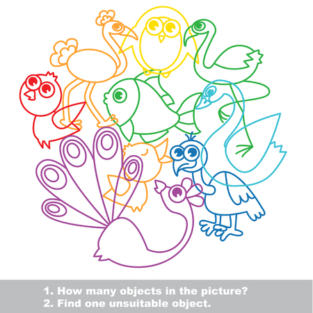 unfit: Birds mishmash colorful set in vector. Find all hidden objects on the picture. Find one unfit object.