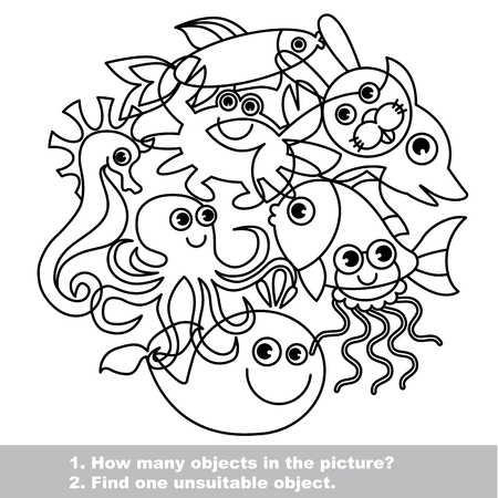 Sea life mishmash set in vector outlined to be colored.  Find all hidden objects on the picture. Find one unfit object.