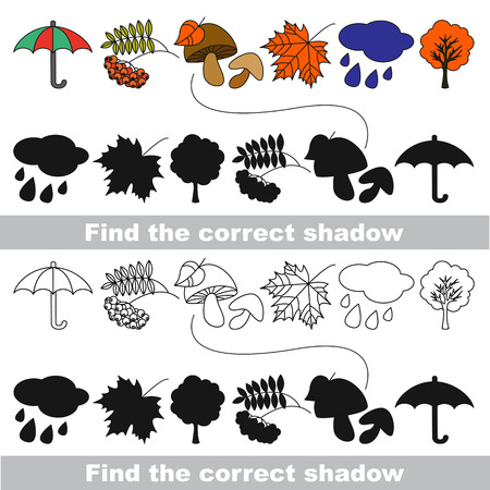 ash cloud: Autumn set with shadows to find the correct one. Compare and connect objects. and their true shadows.