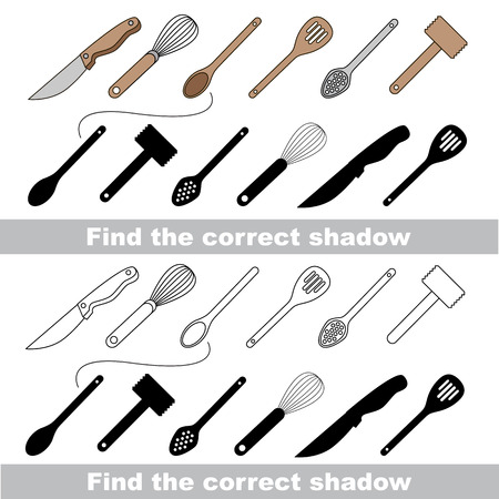 bolter: Utensils set with shadows to find the correct one. Compare and connect objects. and their true shadows. Illustration
