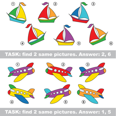 similar: Design equal, color different. Visual vector game. Task and answer. Find two similar Boat and Plane