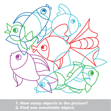 unfit: Fish mishmash colorful set in vector. Find all hidden objects on the picture. Find one unfit object. Illustration
