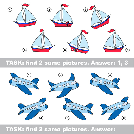 similar: Design different, color equal.  Vector visual game. Task and answer. Find two similar Boat and Plane Illustration