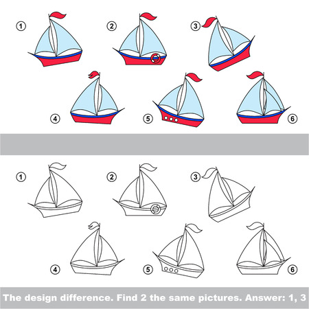 similar: The design difference.  Vector visual game. Task and answer. Find two similar Boat Illustration