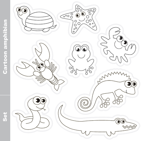 amphibians: Amphibian colorless set  in vector. Under water animals and amphibians. Coloring book for children.