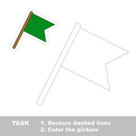 restore: Flag in vector to be traced. Restore dashed line and color the picture. Illustration