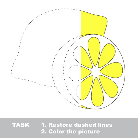restore: Lemon in vector to be traced. Restore dashed line and color the picture. Illustration