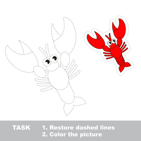 dashed line: Lobster in vector to be traced. Restore dashed line and color the picture.