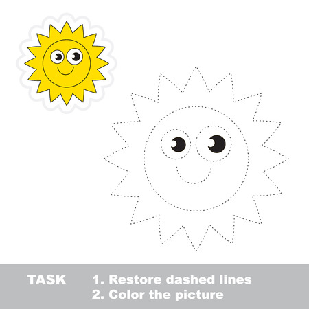 Sun in vector to be traced. Restore dashed line and color the picture.