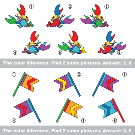 interesting: The color difference. Visual vector game. Task and answer. Find two similar Lobsters and Flags