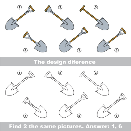 similar: The design difference.  Vector visual game. Task and answer. Find two similar Spades