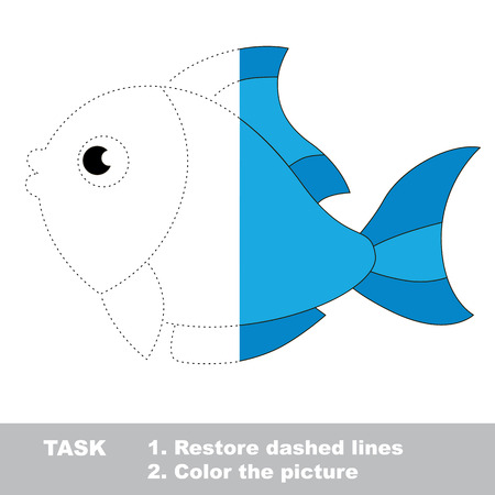 Blue Fish In Vector Colorful To Be Traced. Restore Dashed Line ...