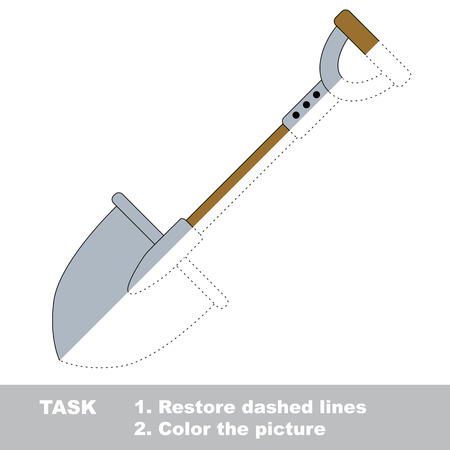 dashed: Spade in vector colorful to be traced. Restore dashed line and color the picture. Worksheet to be colored. Illustration