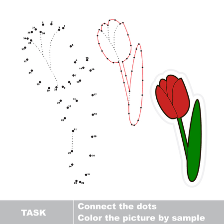 Tulip in vector to be traced by numbers. Vector dot to dot game. Connect dots for numbers.