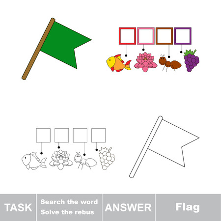 solve: Vector rebus game. Task and answer. Solve the rebus and find the word Flag Illustration