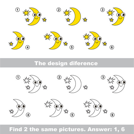 similar: The design difference.  Vector visual game. Task and answer. Find two similar Moons