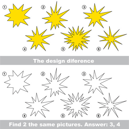 similar: The design difference.  Vector visual game. Task and answer. Find two similar Stars