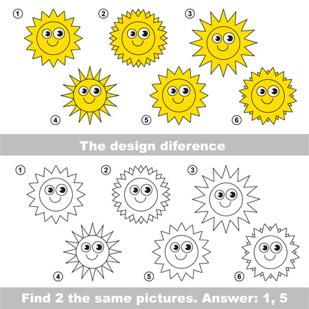 suns: The design difference.  Vector visual game. Task and answer. Find two similar Suns