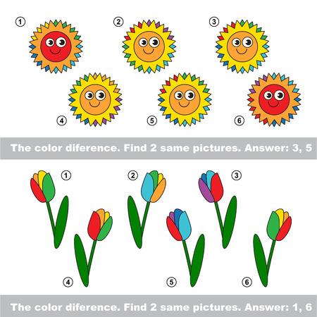 similar: The color difference. Visual vector game. Task and answer. Find two similar Suns and Tulips Illustration