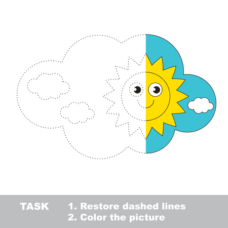 dashed: Day in vector colorful to be traced. Restore dashed line and color the picture. Worksheet to be colored.