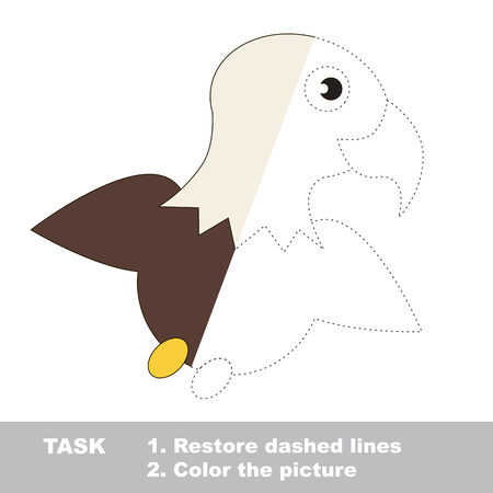children play: Eagle in vector colorful to be traced. Restore dashed line and color the picture. Worksheet to be colored. Illustration