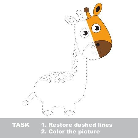 dashed line: Giraffe in vector colorful to be traced. Restore dashed line and color the picture. Worksheet to be colored. Illustration