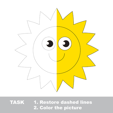 dashed: Sun in vector colorful to be traced. Restore dashed line and color the picture. Worksheet to be colored.