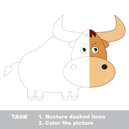 yak: Yak in vector colorful to be traced. Restore dashed line and color the picture. Worksheet to be colored.