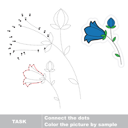 Bluebell in vector to be traced by numbers. Vector dot to dot game. Connect dots for numbers. Illustration