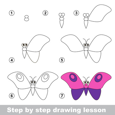 Step by step drawing tutorial. Vector kid game. How to draw a Butterfly