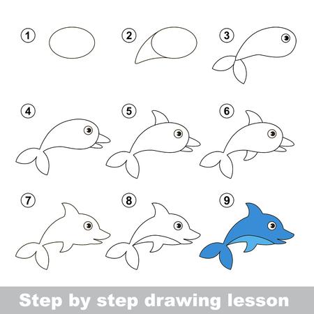 dolphin: Etape par étape dessin tutoriel. Vector kid jeu. Comment dessiner un dauphin