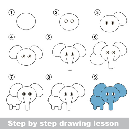 Step by step drawing tutorial. Vector kid game. How to draw a Elephant Vetores
