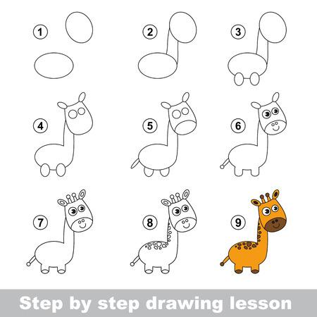 Paso a paso tutorial de dibujo. Vector de juego de niños. Cómo dibujar una jirafa Foto de archivo - 50709494