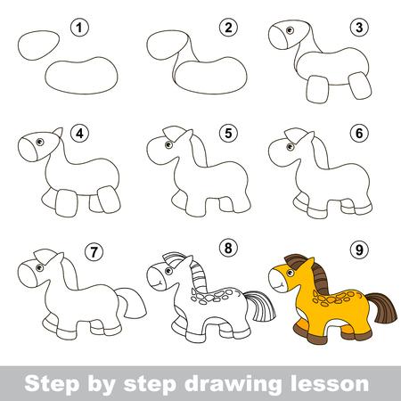 dessin enfants: Etape par �tape dessin tutoriel. Vector kid jeu. Comment dessiner un cheval