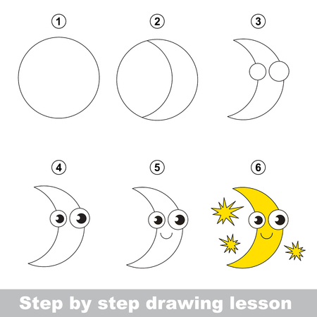 dessin enfants: Etape par �tape dessin tutoriel. Vector kid jeu. Comment dessiner une lune