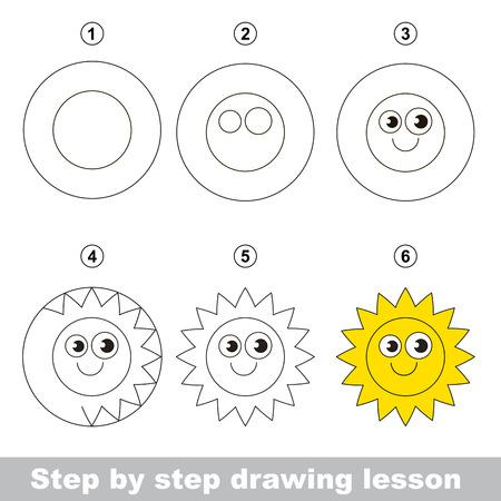 dessin: Etape par étape dessin tutoriel. Vector kid jeu. Comment dessiner un soleil Illustration