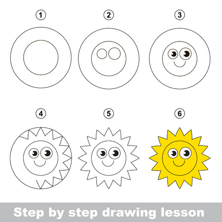 Step by step drawing tutorial. Vector kid game. How to draw a Sun