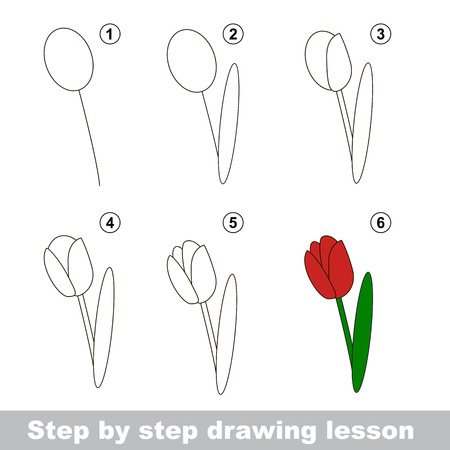 how to: Step by step drawing tutorial. Vector kid game. How to draw a Tulip