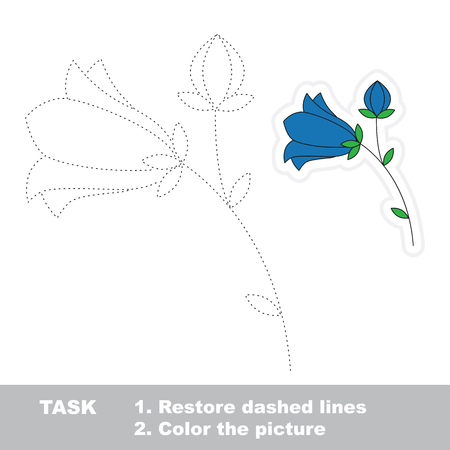 bluebell: Bluebell in vector to be traced. Restore dashed line and color the picture. Illustration