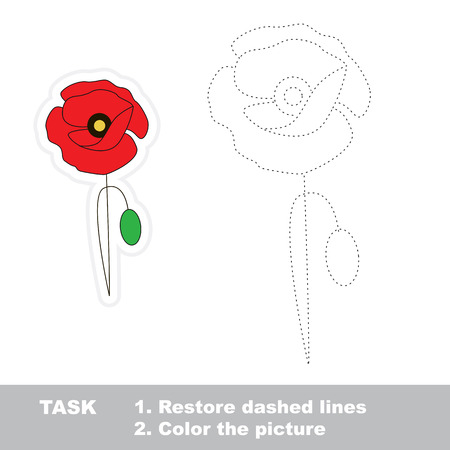 restore: Poppy in vector to be traced. Restore dashed line and color the picture.