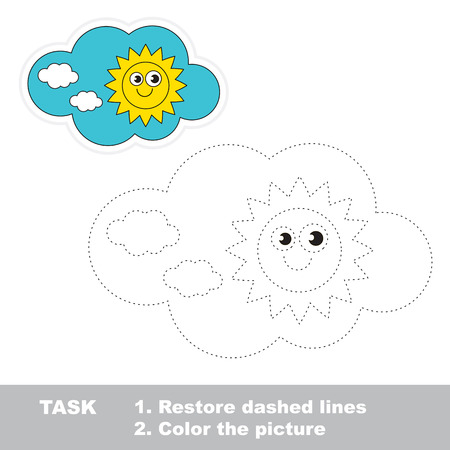 white day: Day in vector to be traced. Restore dashed line and color the picture.