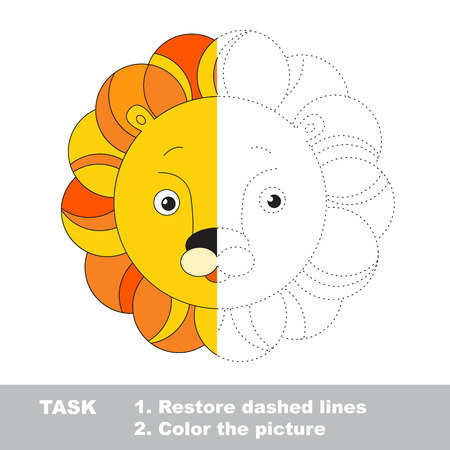 dashed: Lion toy in vector colorful to be traced. Restore dashed line and color the picture. Worksheet to be colored.